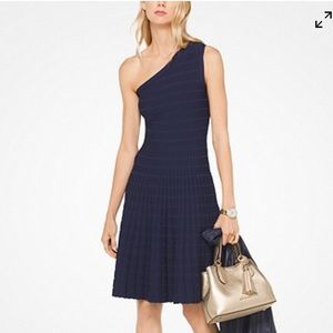 Michael Kors asymmetrical knit dress navy